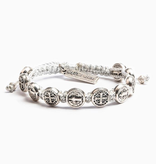 My Saint My Hero - Benedictine Blessing Bracelet - Metallic Silver