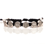 Benedictine Blessing Bracelet - Silver Medal & Black