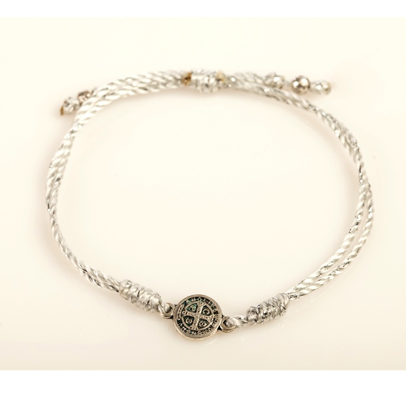 My Saint My Hero - Breathe Blessing Bracelet -  Silver Medal - Metallic Silver