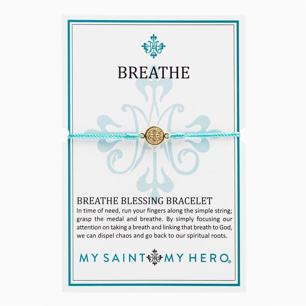 My Saint My Hero - Breathe Bracelet-Mint-Gold