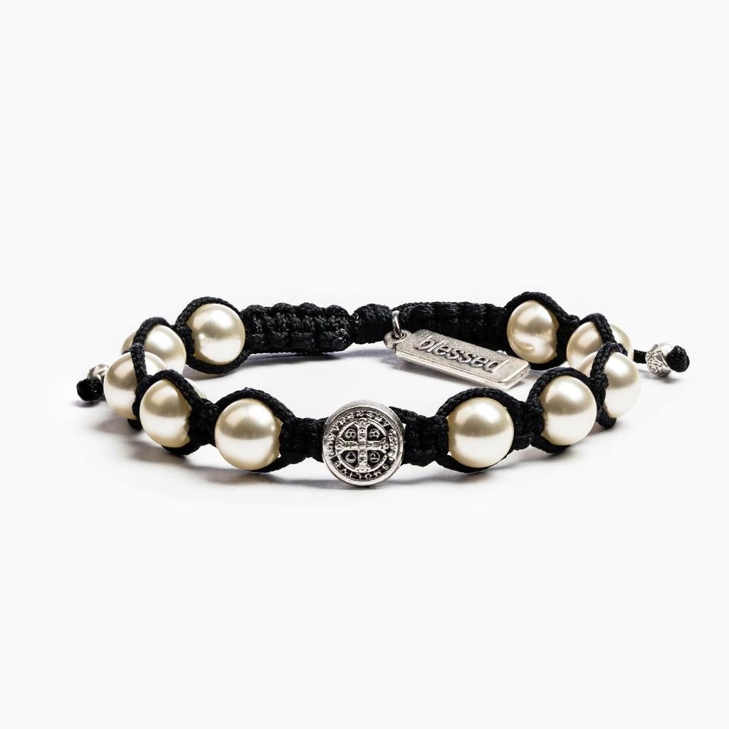 My Saint My Hero - Divine Blessing Bracelet - Black, Silver & Ivory Pearl