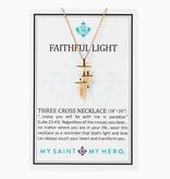 My Saint My Hero - Faithful Light Three Cross Necklace - Gold