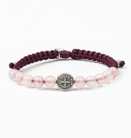 My Saint My Hero - Wake Up and Pray Meditation Bracelet-Eggplant/Rose Quartz/Silver