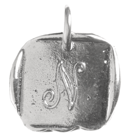 Waxing Poetic Baby Insignia Charm- Silver- Letter N