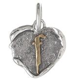Waxing Poetic Heart Insignia-Brass/Silver-F