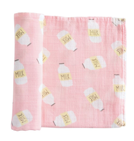 Mud Pie Pink Milk Muslin Swaddle Blanket