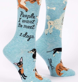 """Blue Q - """"People I Want to Meet: Dogs"""" Women's Socks"""