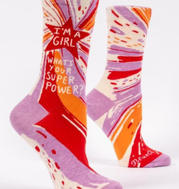 "Blue Q - ""I'm A Girl, What's Your Superpower?"" Women's Socks"