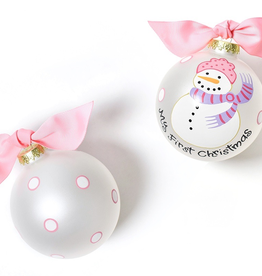 Coton Colors: My First Ornament Snowman Girl Glass Ornament