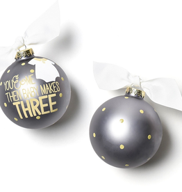 Coton Colors:You and Me Then Baby Makes 3 Glass Ornament
