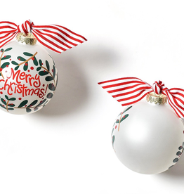 Coton Colors: Merry Christmas Holly Branch  Glass Ornament