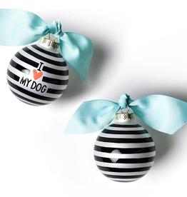 Coton Colors: I Love My Dog Stripe Glass Ornament Black