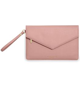 Katie Loxton ESME Envelope Clutch Live Laugh Love: Pink