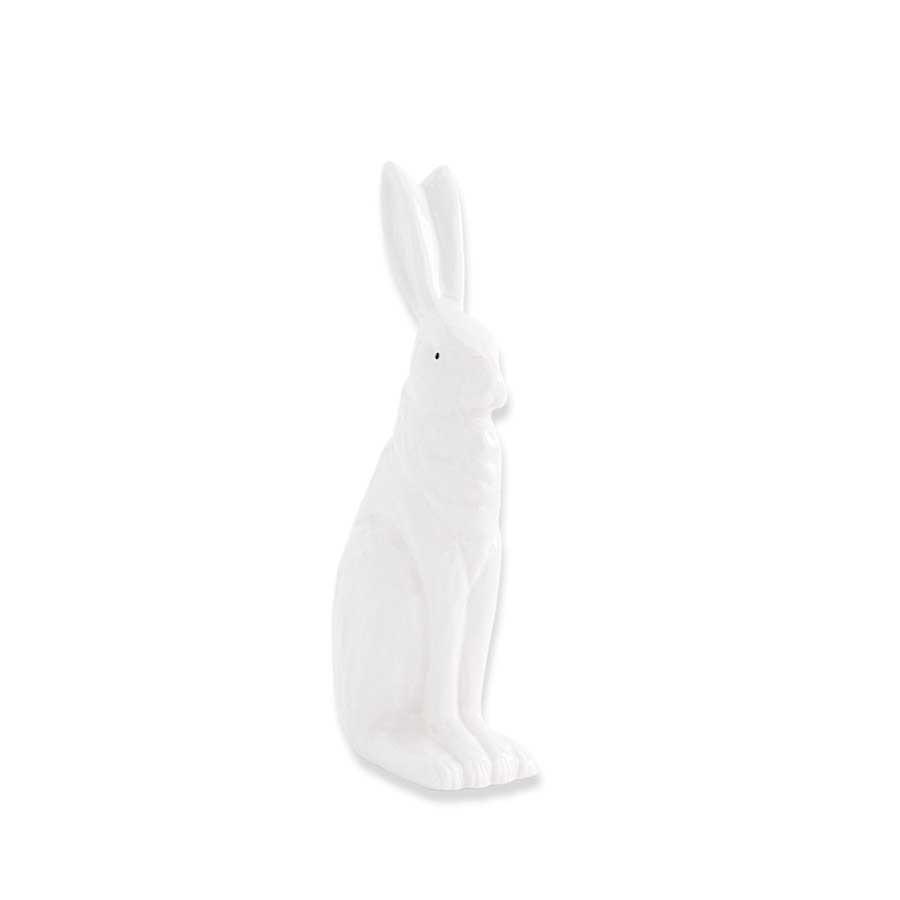 6.5 inch White Porcelain Rabbit Sitting w/ Ears Up