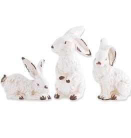 "7"" Assorted Vintage White Ceramic Bunnies"