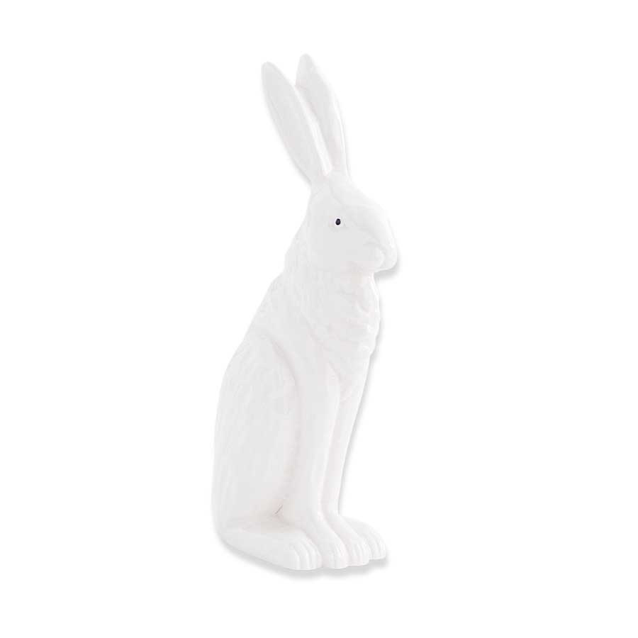 8.5 inch White Porcelain Rabbit Sitting w/ Ears Up
