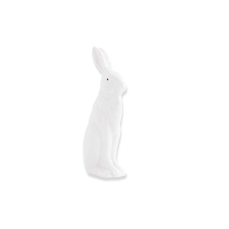 4.75 inch White Porcelain Rabbit Sitting w/ Ears Up