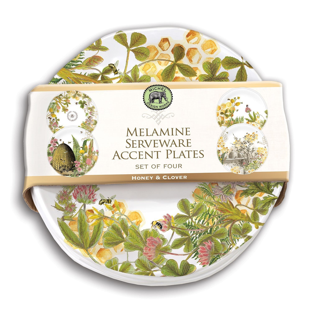 Michel Design Works - Honey & Clover Melamine Plate Set
