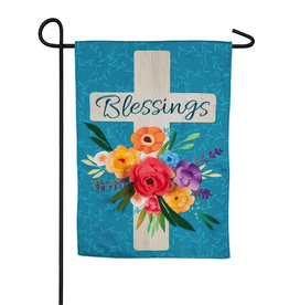 Garden Blessings Floral Cross Decorative Linen Garden Flag