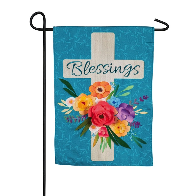 Garden Blessings Floral Cross Decorative Linen Garden Flag