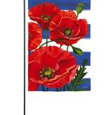 Garden Evergreen Poppies and Stripes Garden Suede Flag