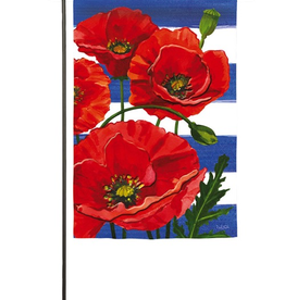 Garden Evergreen Poppies and Stripes Garden Suede Flag