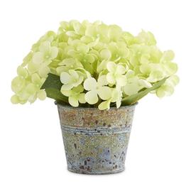 7 Inch Green Hydrangea in Tin Pot