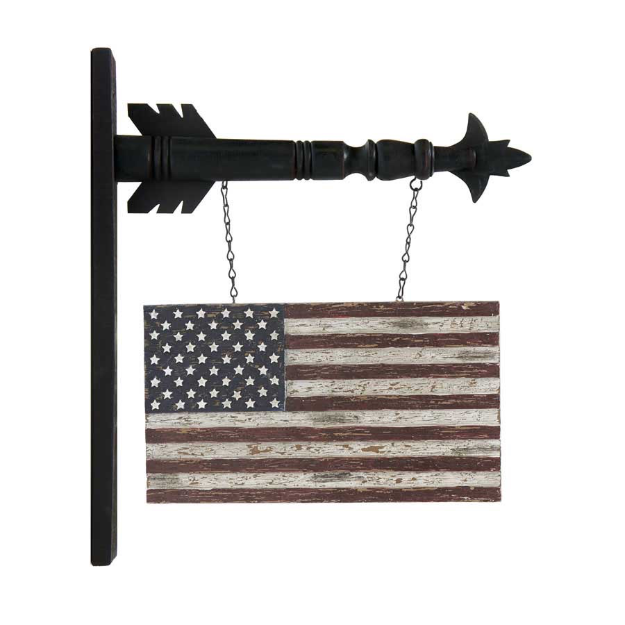 "13"" Distressed Brown Resin USA Flag Arrow Replacement"