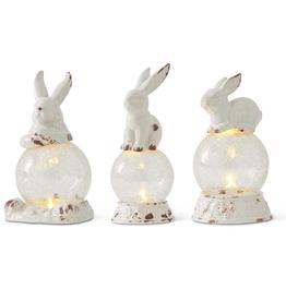 White Ceramic Bunny on Globe