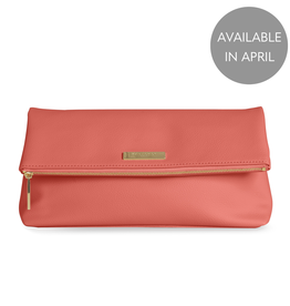 Katie Loxton Alise Soft Pebble Fold Over Clutch - Coral