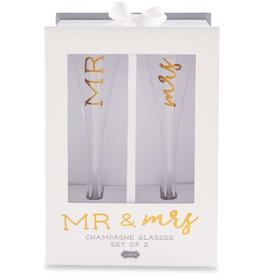 Mud Pie Mr. & Mr. Champagne Glass Set
