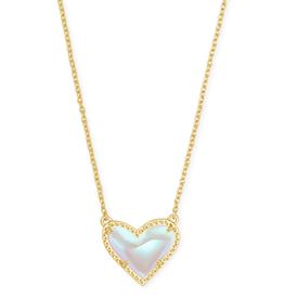 Kendra Scott Ari Heart Short Pendant Gold Dichroic Glass