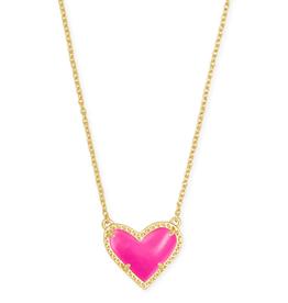 Kendra Scott Ari Heart Short Pendant Gold Magenta