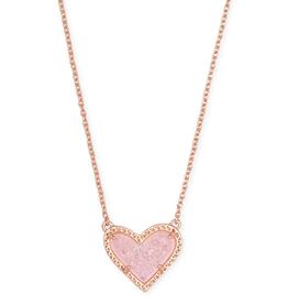Kendra Scott Ari Heart Short Pendant RSG Pink Drusy