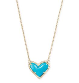 Kendra Scott Ari Heart Short Pendant Gold Turquoise