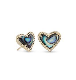 Kendra Scott Ari Heart Stud Earring Gold Abalone Shell