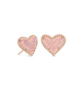 Kendra Scott Ari Heart Stud Earring RSG Pink Drusy