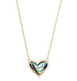 Kendra Scott Ari Heart Short Pendant Gold Abalone Shell