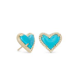 Kendra Scott Ari Heart Stud Earring Gold Turquoise