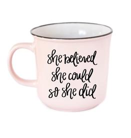 She Believed She Could So She Did - Campfire Coffee Mug