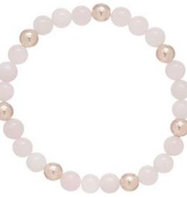 enewton Rose Quartz Sincerity Pattern 6mm Bead Bracelet - Dignity Gold