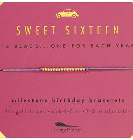 Milestone Birthday Bracelet Gold - Sweet Sixteen