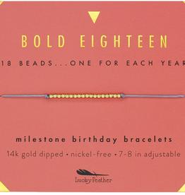 Milestone Birthday Bracelet Gold - Eighteen