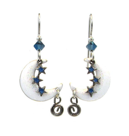 White Crescent Moon with Blue Stars