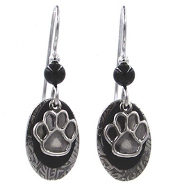 Silver Forest Silver Paw Print on Oval
