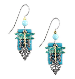 Silver Forest Dragonfly/Turquoise Rectangle