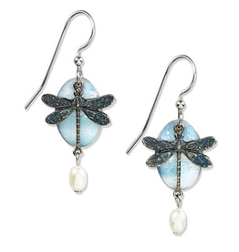 Silver Forest Layered Dragonfly with pearl drop