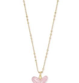 Kendra Scott Poppy Necklace Gold Rose Quartz