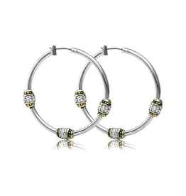 John Medeiros - Beaded Pave Triple Bead Hoop Earrings