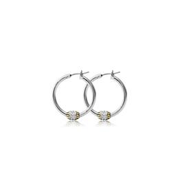 John Medeiros - Beaded Pave Hoop Earrings